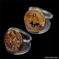 Monedas medievales: MONEDA 1 BITCOIN FÍSICA COLECCIONABLE BAÑADA EN ORO. Lote 194539760