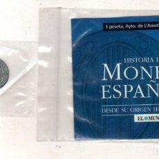 Monedas medievales: HISTORIA DE LA MONEDA ESPAÑOLA. EL MUNDO. 1 PESETA, AYTO. DE L´AMETILLA DEL VALLES.. Lote 196594531