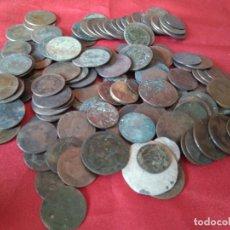 Monedas medievales: LOTE DE 150 ANTIGUAS MONEDAS A REVISAR, LIMPIAR Y EXPERIMENTAR - CASI 1 KILO DE MONEDAS. Lote 204446807