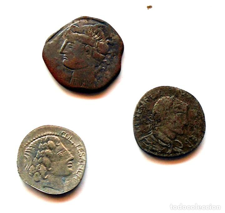 LOTE X 3 MONEDAS ROMANAS . RÉPLICAS (Numismática - Hispania Antigua- Medievales - Otros)