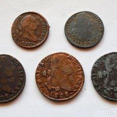 Monedas medievales: LOTE X 5 . CARLOS III - IV . 4-8 MARAVEDIS 1779-1808 . COLECCION ORTIZ .. Lote 222680043