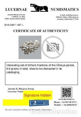 Monedas medievales: Conjunto de fragmentos de Dirham, periodo Omeya, (6,60 g). B27-L - Foto 2 - 245602890