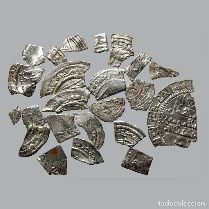 CONJUNTO DE FRAGMENTOS DE DIRHAM, PERIODO OMEYA, (10 G). B44-L (Numismática - Hispania Antigua- Medievales - Otros)