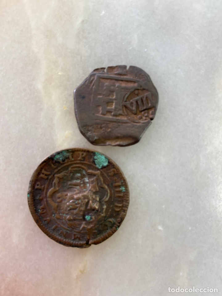 JUEGO 2 MONEDAS ANTIGUAS (Numismática - Hispania Antigua- Medievales - Otros)
