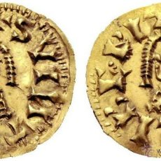 Monedas reinos visigodos: SPAIN TRIENTE SUINTHILA TREMIS ELIBERRI CERTIFICADA POR CAYON EBC RESTOS BRILLO ORIGINAL AU GOLD. Lote 51351688