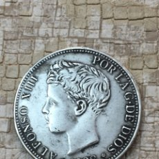 Monedas reinos visigodos: MONEDA DE PLATA ALFONSO XIII 5 PESETAS 1898 * 18*98. Lote 130662190