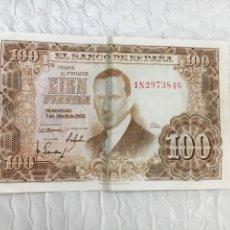 Monedas reinos visigodos: BILLETE CIEN PESETAS 1953 NÚMERO 1N2973846 EN PERFECTO ESTADO. Lote 132880930
