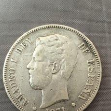 Monedas reinos visigodos: 5 PESETAS 1871 *18-75 AMADEO I PLATA. Lote 143998236