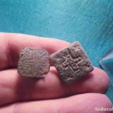 Monedas reinos visigodos: BONITOS BOTONES APLIQUES EN BRONCE , DECIRADOS CON UNA CRUZ. Lote 218195063
