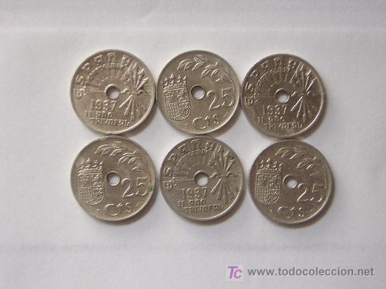 SEIS MONEDAS DE 25 CTS. DEL AÑO 1.937 (Numismática - España Modernas y Contemporáneas - República)