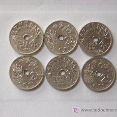 Monedas República: SEIS MONEDAS DE 25 CTS. DEL AÑO 1.937. Lote 28037695