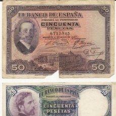 Monedas República: 50 PTS DE 1927 Y 50PTS DE 1931 .EL DEL 27 CON EL SELLO DE LA REPUBLICA ,LOS DOS SIN SERIE. Lote 26057669