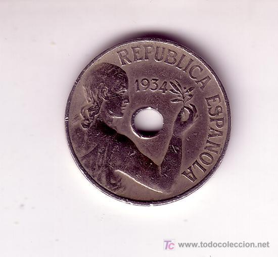 25 CENTIMOS-REPUBLICA 1934 (Numismática - España Modernas y Contemporáneas - República)