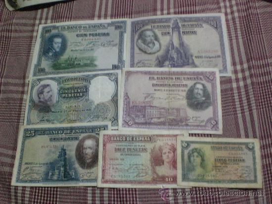 LOTE 7 BILLETES REPUBLICA 5, 10, 25, 50, 50,100, 100 PTS (Numismática - España Modernas y Contemporáneas - República)