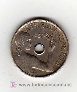MONEDA DE 25 CENTIMOS - REPUBLICA ESPAÑOLA 1934 (Numismática - España Modernas y Contemporáneas - República)