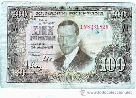 100 PESETAS DE 7 ABRIL 1953 JULIO ROMERO SERIE 1N8231829 (Numismática - España Modernas y Contemporáneas - República)