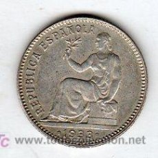 Monedas República: UNA PESETA 1933 REPUBLICA PLATA. Lote 24080155