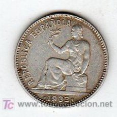Monedas República: UNA PESETA 1933 REPUBLICA PLATA. Lote 18565553