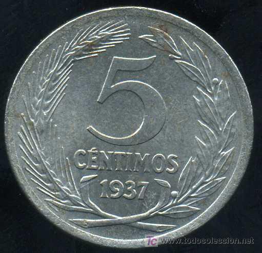 Monedas República: II REPUBLICA : 5 Centimos 1937 (Hierro) - Foto 2 - 20917151