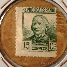 Monedas República: CARTON MONEDA CON SELLO DE REPUBLICA ESPAÑOLA DE 15 CENTIMOS GUERRA CIVIL. Lote 21366391