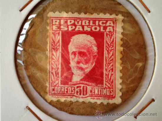 CARTON MONEDA CON SELLO DE LA REPUBLICA ESPAÑOLA DE 30 CENTIMOS GUERRA CIVIL (Numismática - España Modernas y Contemporáneas - República)