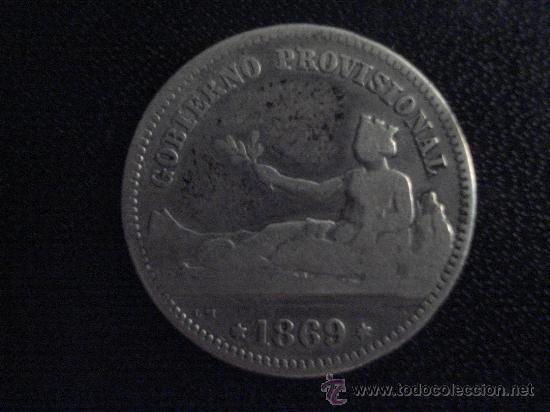 UNA PESETA GP 1869 SNM LA PRIMERA PESETA. MONEDA DE PLATA (Numismática - España Modernas y Contemporáneas - República)