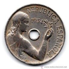 Monedas República: MONEDA DE LA II REPÚBLICA, AÑO 1934, ESTADO EBC METAL NIQUEL, VER FOTOS. Lote 29655203
