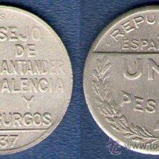 Monedas República: 1 PESETA SANTANDER PALENCIA Y BURGOS EBC-. Lote 33319941