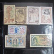 Monedas República: COLECCIÓN DE 22 BILLETES DE ESPAÑA DE 1928 A 1965 DE 0,5 A 100 PESETAS 6 HOJAS. Lote 36916264