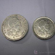 Monedas República: 1 Y 2 PESETAS DE NIKEL DE 1937 GOBIERNO DE EUSKADI. Lote 214165132