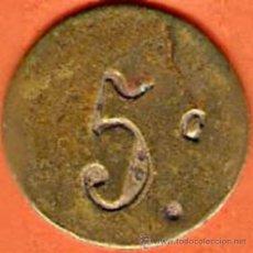 Monedas República: CHAPA CON VALOR DE 5 CÉNTIMOS UTLIZADA DURANTE LA II REPÚBLICA ESPAÑOLA. Lote 44289571