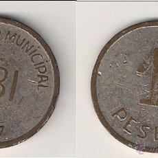 Monedas República: MONEDA DEL CONSEJO MUNICIPAL DE IBI DE PESETA DE 1937. MBC+ CATÁLOGO GUERRA-219. (GC5).. Lote 45493971