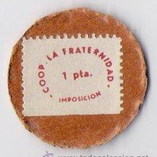 Monedas República: DISCO MONEDA **COOP LA FRATERNIDAD ** 1 PTA.. EBC MUY DIFICIL DE CONSEGUIR. Lote 45779286