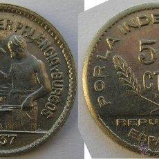 Monedas República: FLOR DE CUÑO REPUBLICA SANTANDER PALENCIA BURGOS 50 CENTIMOS 1937 ENSAYADOR PJR . Lote 98480768