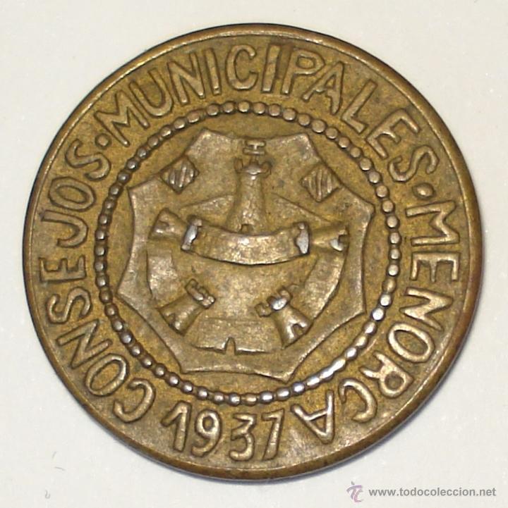MONEDA DE 1 PESETA, ACUÑADA EN MENORCA DURANTE LA GUERRA CIVIL. (Numismática - España Modernas y Contemporáneas - República)