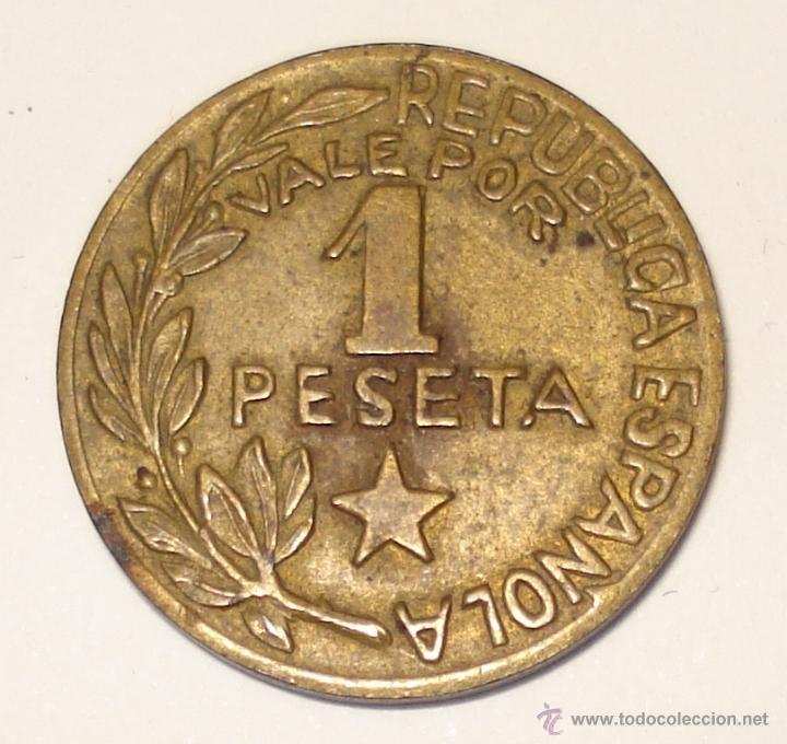 Monedas República: MONEDA DE 1 PESETA, ACUÑADA EN MENORCA DURANTE LA GUERRA CIVIL. - Foto 2 - 209139760