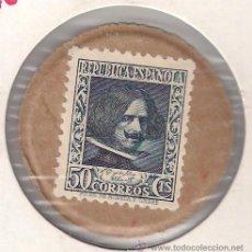 Monete Repubblica: SELLO MONEDA DE 50 CÉNTIMOS DE VELÁZQUEZ. AZUL. CORRIENTE. SIN CIRCULAR. (SM26).. Lote 52341430