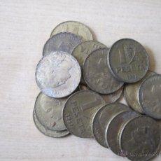 Monedas República: 14 MONEDAS DE LATON 1 PESETA 1937 APROX. 80 GRAMOS DE KILO A PESO. Lote 52981338