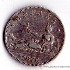 Monedas República: MONEDA DE PLATA DE 2 PESETAS-1870 GOBIERNO PROVISIONAL. Lote 53963016