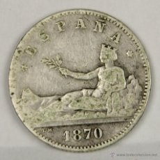 Monedas República: MO-084. COLECCION DE 9 MONEDAS EN PLATA. GOBIERNO PROVISIONAL. 1870. UNA PESETA.. Lote 50490888