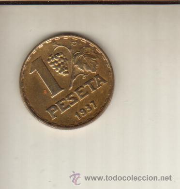 Monedas República: BONITA MONEDA DE 1 PESETA DE 1937 VER VER FOTOS QUE NO TE FALTE EN TU COLECCION - Foto 2 - 54874134