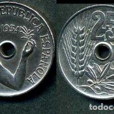 Monedas República: ESPAÑA 25 CENTIMOS DE PESETA DE 1934 ( MUJER CON UNA RAMA DE OLIVO ) MONEDA DE LA II REPUBLICA ) Nº5. Lote 73515093