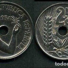 Monedas República: ESPAÑA 25 CENTIMOS DE PESETA DE 1934 ( MUJER CON UNA RAMA DE OLIVO ) MONEDA DE LA II REPUBLICA ) Nº9. Lote 73515110