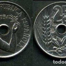 Monedas República: ESPAÑA 25 CENTIMOS DE PESETA DE 1934 ( MUJER CON UNA RAMA DE OLIVO ) MONEDA DE LA II REPUBLICA )Nº10. Lote 73515115