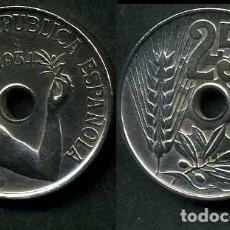 Monedas República: ESPAÑA 25 CENTIMOS DE PESETA DE 1934 ( MUJER CON UNA RAMA DE OLIVO ) MONEDA DE LA II REPUBLICA )Nº11. Lote 181348891