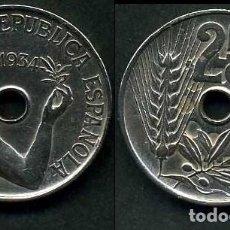Monedas República: ESPAÑA 25 CENTIMOS DE PESETA DE 1934 ( MUJER CON UNA RAMA DE OLIVO ) MONEDA DE LA II REPUBLICA )Nº13. Lote 114495358