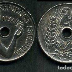 Monedas República: ESPAÑA 25 CENTIMOS DE PESETA DE 1934 ( MUJER CON UNA RAMA DE OLIVO ) MONEDA DE LA II REPUBLICA )Nº15. Lote 73515134