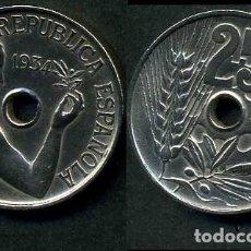 Monedas República: ESPAÑA 25 CENTIMOS DE PESETA DE 1934 ( MUJER CON UNA RAMA DE OLIVO ) MONEDA DE LA II REPUBLICA )Nº16. Lote 73515135
