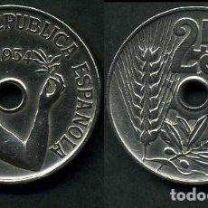 Monedas República: ESPAÑA 25 CENTIMOS DE PESETA DE 1934 ( MUJER CON UNA RAMA DE OLIVO ) MONEDA DE LA II REPUBLICA )Nº17. Lote 73515137