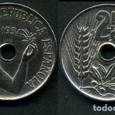 Monedas República: ESPAÑA 25 CENTIMOS DE PESETA DE 1934 ( MUJER CON UNA RAMA DE OLIVO ) MONEDA DE LA II REPUBLICA )Nº18. Lote 73515138